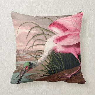 Audubon Roseate Spoonbill Bird Vintage Print Throw Pillow