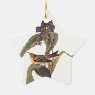 Audubon Vigor's Vireo with Purple Flower Ceramic Ornament