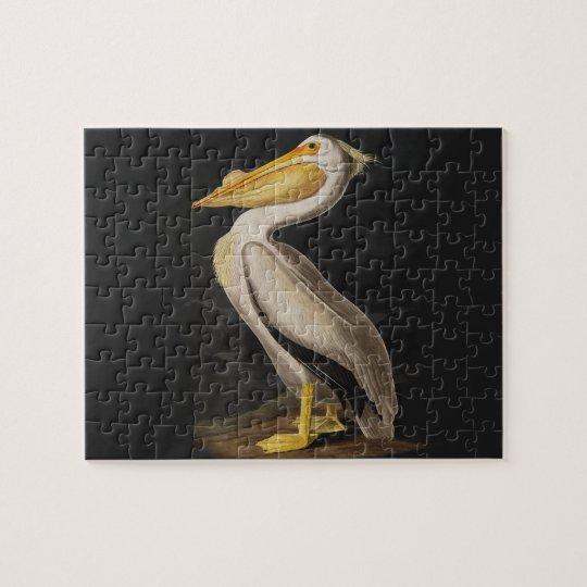Audubon White Pelican Bird Vintage Print Jigsaw Puzzle