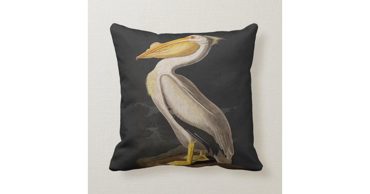 Audubon White Pelican Bird Vintage Print Throw Pillow Zazzle