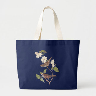 Audubon White-Throated Sparrow Bird in Dogwood Large Tote Bag