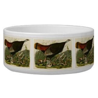 Audubon Wild Turkey Vintage Birds of America Dog Bowl