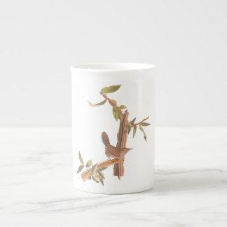 Audubon's Bewick's Long-Tailed Wren Bird on Branch Tea Cup