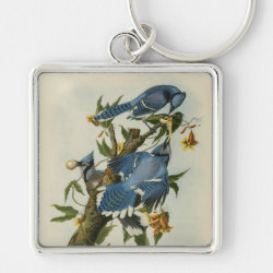 Premium Square Keychain with Audubon's Blue Jays design