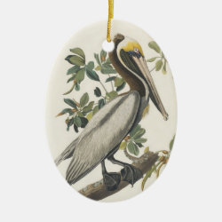 Oval Ornament with Audubon's Brown Pelican design