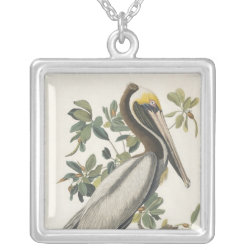 Square Silver-plated Necklace with Audubon's Brown Pelican design