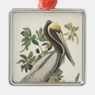 Audubon's Brown Pelican Square Metal Christmas Ornament