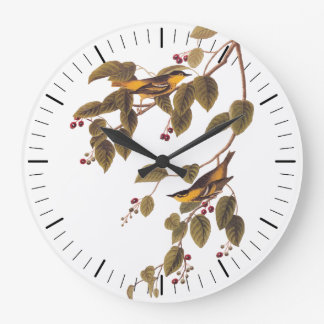 Audubon's Carbonated Warbler Bird on Service Tree Large Clock