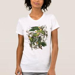 Women's American Apparel Fine Jersey Short Sleeve T-Shirt with Audubon's Carolina Parakeet design