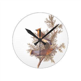 Audubon's Cedar Waxwing Bird Pair on Juniper Tree Round Clock