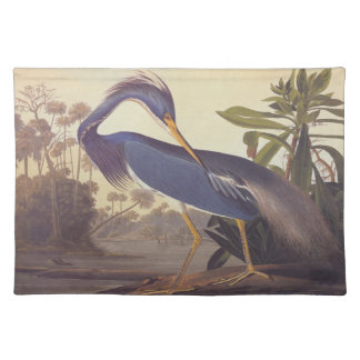 Audubon's Louisiana Heron or Tricolored Heron Cloth Placemat