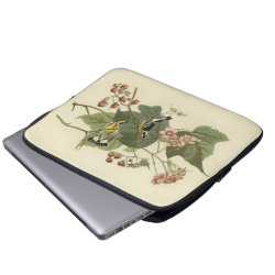 Neoprene Laptop Sleeve 13 inch with Audubon's Magnolia Warbler design
