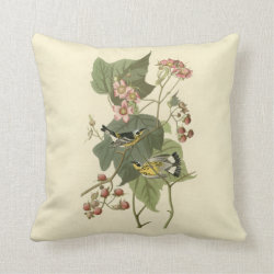 Cotton Throw Pillow with Audubon's Magnolia Warbler design