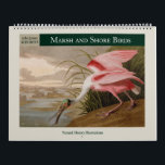 """Audubon's Marsh and Shore Birds 2021 Calendar<br><div class=""""desc"""">Vintage natural history illustrations of sea, shore and marsh birds, from John James Audubon's 1838 edition of Birds of America. Digitally cleaned and enhanced images, suitable for framing. Featured birds: Shoveller Duck, Cayenne Tern, Great White Heron, Long-legged Avocet, Louisiana Heron, Brown Pelican, Red-necked Grebe, Common American Swan, Large-billed Puffin, American...</div>"""