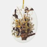 Audubon's Mockingbirds defending nest Ceramic Ornament