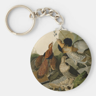 Audubon's Painting of a trio of Ruffed Grouse Basic Round Button Keychain