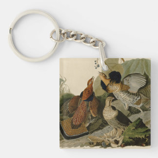 Audubon's Painting of a trio of Ruffed Grouse Double-Sided Square Acrylic Keychain