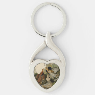 Audubon's Painting of a trio of Ruffed Grouse Silver-Colored Heart-Shaped Metal Keychain