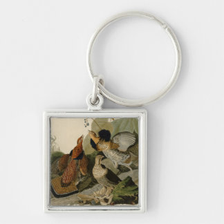 Audubon's Painting of a trio of Ruffed Grouse Silver-Colored Square Keychain
