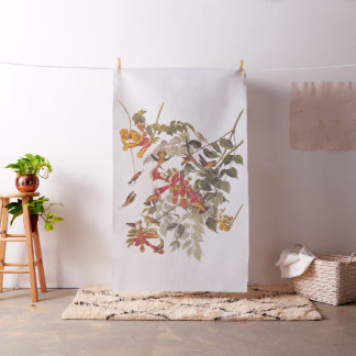 Audubon's Ruby-Throated Hummingbirds with Flowers Fabric