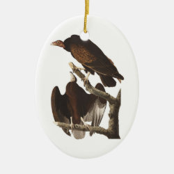 Oval Ornament with Audubon's Turkey Vulture design