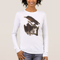 Women's Basic Long Sleeve T-Shirt with Audubon's Turkey Vulture design