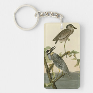 Audubon's Vintage Yellow crowned night heron paint Keychain