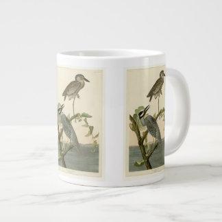 Audubon's Vintage Yellow crowned night heron paint Large Coffee Mug