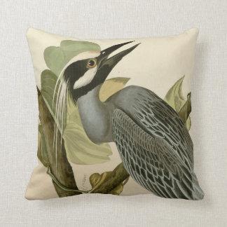 Audubon's Vintage Yellow crowned night heron paint Throw Pillow