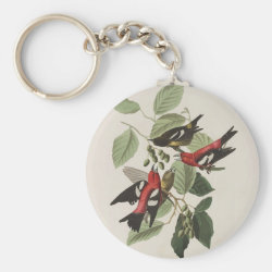 Basic Button Keychain with Audubon's White-winged Crossbills design