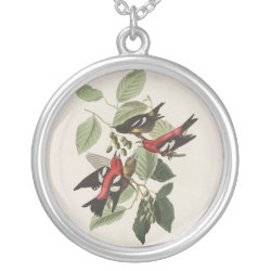 Large Necklace with Audubon's White-winged Crossbills design