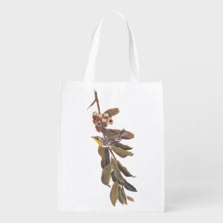 Audubon's Yellowthroat Warbler Bird on Tree Branch Reusable Grocery Bag