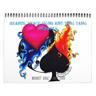 Aug 2012-July 2013 Hearts, Peace Signs& Ying Yangs Wall Calendar