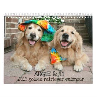 Augie y calendario 2013 del golden retriever del