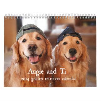 Augie y calendario 2014 del golden retriever del