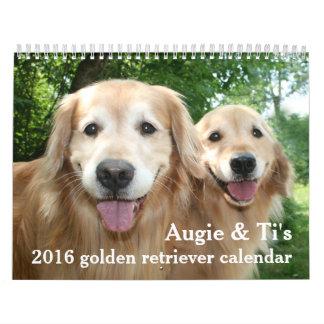 Augie y perro 2016 del golden retriever del Ti Calendario