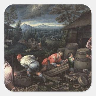 August, 1595-1600 square sticker