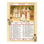 August 1884 Almanac.  Virgo, The Virgin Postcard
