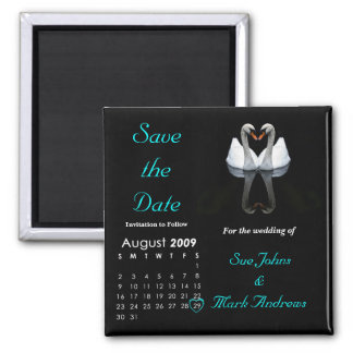 August 2009 Save the Date, Wedding Announcement 2 Inch Square Magnet