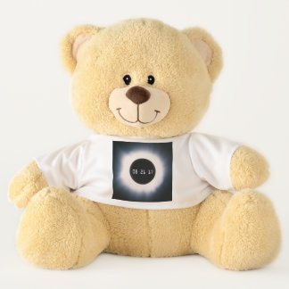 August 2017 Total Solar Eclipse in Black and White Teddy Bear