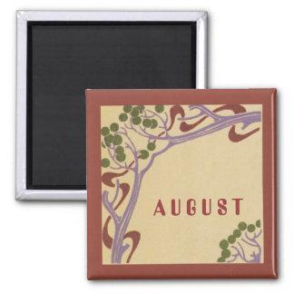 August Art Nouveau Square Magnet