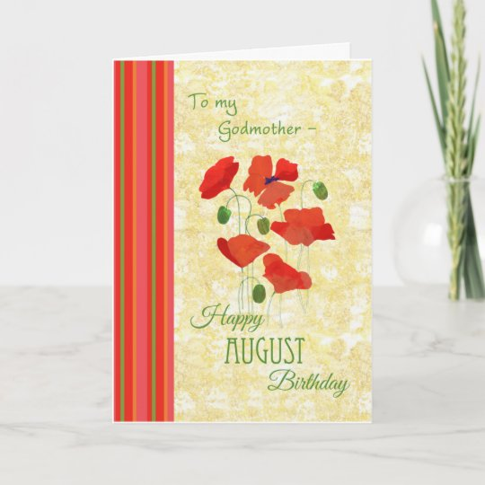 August Birthday Card For Godmother Poppies
