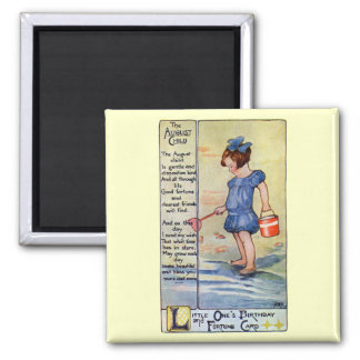 August Birthday Girl at the Beach 2 Inch Square Magnet
