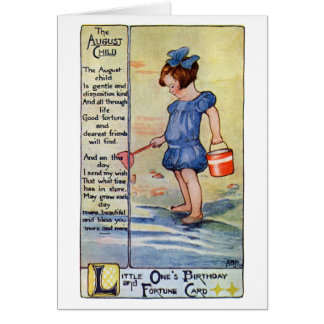 August Birthday Girl at the Beach Greeting Card