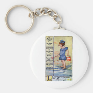 August Birthday Girl at the Beach Basic Round Button Keychain