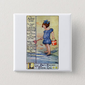 August Birthday Girl at the Beach Pinback Button