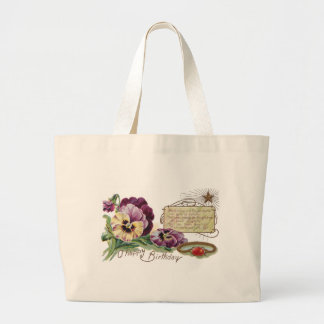 August Birthday Pansies and Sardonyx Ring Large Tote Bag