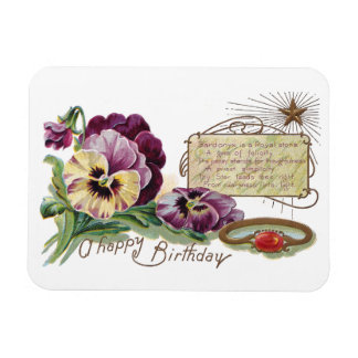 August Birthday Pansies and Sardonyx Ring Magnet