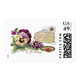 August Birthday Pansies and Sardonyx Ring Postage Stamps