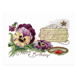 August Birthday Pansies and Sardonyx Ring Post Card